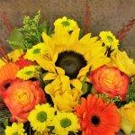 Sonnenblumen mit Rosen und Gerbera