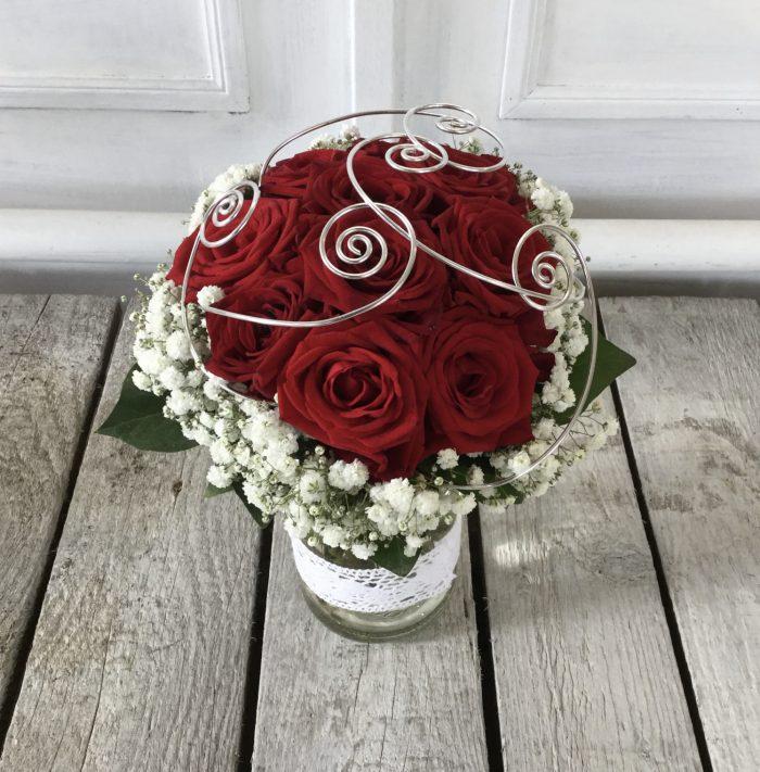 Blumenstrauß rote Rosen Kleiner Charmeure