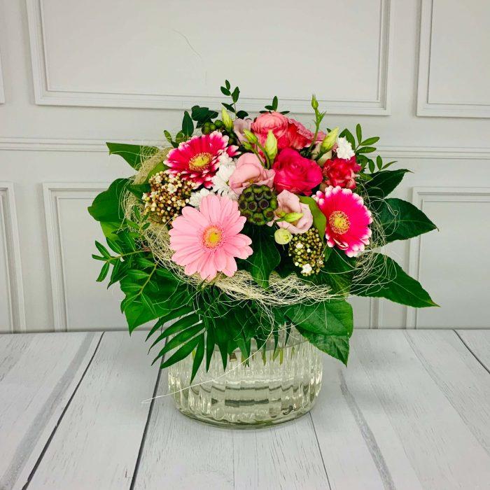 Blumenstrauß ABO gebunden in rosa mit Rosen und Gerbera
